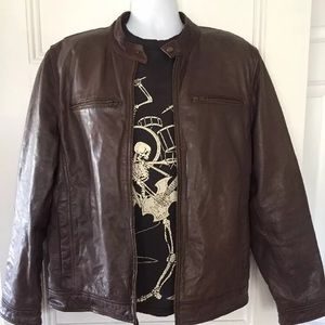Black River leather jacket men's Xl brown zip up